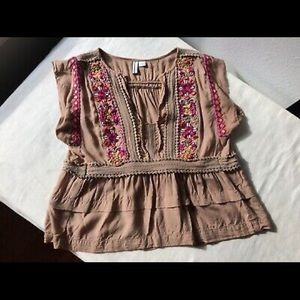Anthropologie Bl^nk London Embroidered Top